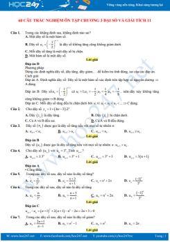 60 câu trắc nghiệm ôn tập Chương 3 Đại số và Giải tích 11 có đáp án