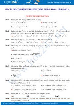 100 câu trắc nghiệm về Đường tròn - Hình học 10 có đáp án