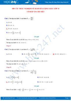100 câu trắc nghiệm về Hàm số lượng giác lớp 11 có đáp án chi tiết