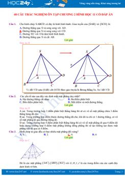 40 câu trắc nghiệm ôn tập Chương 2 Hình học 11 có đáp án chi tiết