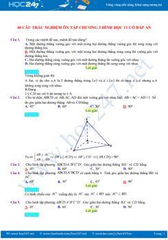 40 câu trắc nghiệm ôn tập Chương 3 Hình học 11 có đáp án chi tiết