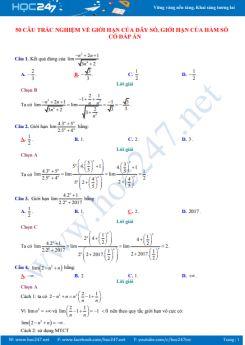 50 câu trắc nghiệm về Giới hạn của dãy số, giới hạn của hàm số có đáp án chi tiết