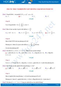150 câu trắc nghiệm ôn tập Chương 2 Đại số 10 có đáp án chi tiết