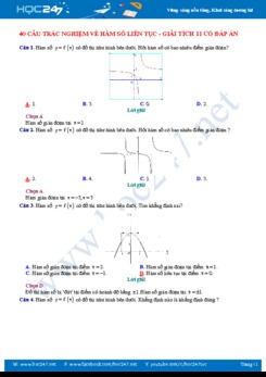 40 câu trắc nghiệm về Hàm số liên tục - Giải tích 11 có đáp án chi tiết