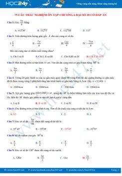 75 câu trắc nghiệm ôn tập Chương 6 Đại số 10 có đáp án