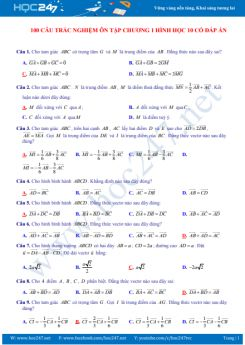 100 câu trắc nghiệm ôn tập Chương 1 Hình học 10 có đáp án chi tiết