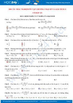 100 câu trắc nghiệm ôn tập kiểm tra Chương 5 Đại số và Giải tích 11 có đáp án