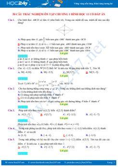 50 câu trắc nghiệm ôn tập Chương 1 Hình học 11 có đáp án