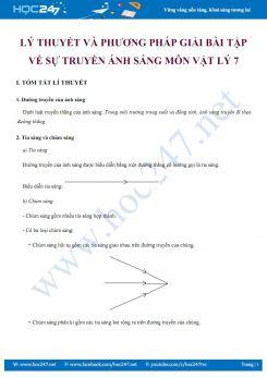 Lý thuyết và phương pháp giải bài tập về Sự truyền ánh sáng môn Vật lý 7