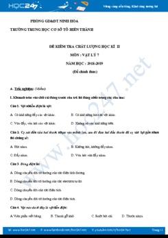 Đề kiểm tra Học kì 2 môn Vật lý 7 năm 2018- 2019 trường THCS Tô Hiến Thành