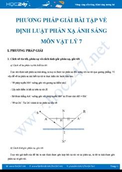 Phương pháp giải bài tập về Định luật phản xạ ánh sáng môn Vật lý 7