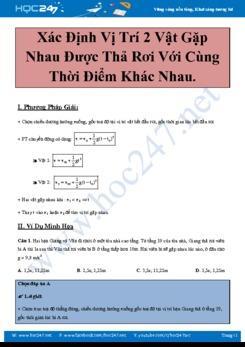 Tuyển tập các Bài toán Xác định vị trí 2 vật gặp nhau khi thả rơi tự do trong các đề thi