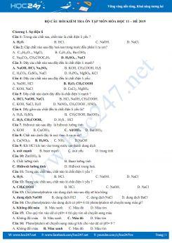 Bộ câu hỏi kiểm tra ôn tập môn Hóa học 11 - Hè năm 2019