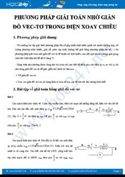 Phương pháp giải toán nhờ Giản đồ vec-tơ trong Điện xoay chiều môn Vật lý 12
