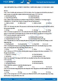 Bộ 4 đề kiểm tra 45 phút Chương 1 môn Hóa học 12 năm 2019 - 2020