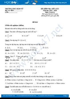 Đề thi giữa HK1 môn Toán 6 năm 2019-2020 Trường THCS Hàm Tử có đáp án