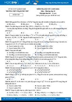 Đề ôn tập HK1 môn Hóa học 10 năm 2019-2020 Trường THPT Phạm Phù Thư