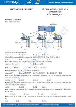 Đề cương ôn tập HK1 môn Hóa học 11 năm 2019 - 2020 Trường THPT Trần Phú