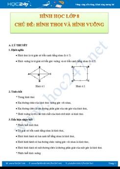 Lý thuyết và bài tập về Hình thoi và hình vuông Hình học 8