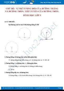 Bài tập về Vị trí tương đối và đường tròn, tiếp tuyến của đường tròn Hình học 9