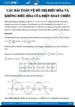 Các bài toán về Đồ thị điều hòa và không điều hòa của Dòng điện xoay chiều