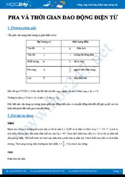 Phương pháp giải các bài tập về Pha và thời gian trong Dao động điện từ