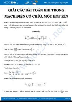 Phương pháp giải các Bài toán trong mạch điện có chứa một hộp kín môn Vật lý 12