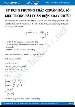 Sử dụng phương pháp chuẩn hóa số liệu trong giải bài toán Điện xoay chiều