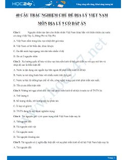40 Câu hỏi trắc nghiệm chủ đề Địa lý Việt Nam môn Địa lý 9 có đáp án