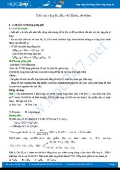 Bài toán cộng H2, Br2 vào Etilen, Axetilen môn Hóa học 9 năm 2019-2020