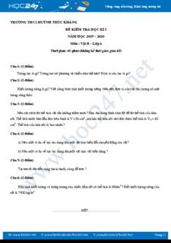Đề kiểm tra HK1 môn Vật lý 6 có đáp án trường THCS Huỳnh Thúc Kháng năm học 2019-2020