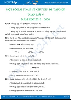 Một số dạng bài tập Chuyên đề Tập hợp Toán lớp 6 năm 2019
