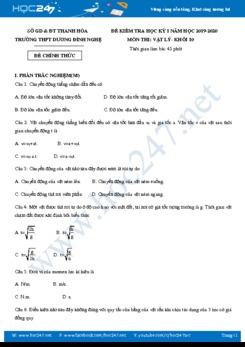 Đề thi HK1 môn Vật lý 10 năm 2019-2020 trường THPT Dương Đình Nghệ có đáp án