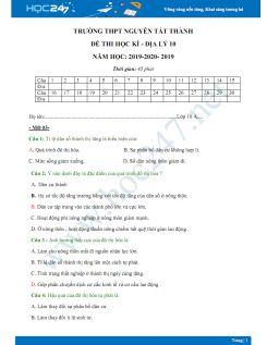 3 Đề thi HK1 môn Địa lý lớp 10 năm 2019-2020 - Trường THPT Nguyễn Tất Thành có đáp án