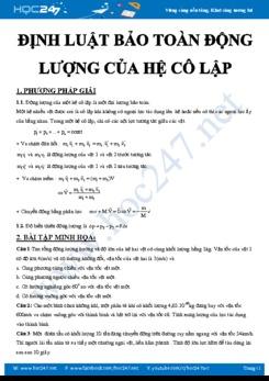 Phương pháp giải và bài tập chủ đề Định luật bảo toàn động lượng của hệ cô lập