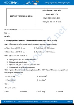 Đề kiểm tra Học kì 1 môn Vật lý 6 năm học 2019-2020 trường THCS Hồng Bàng có đáp án