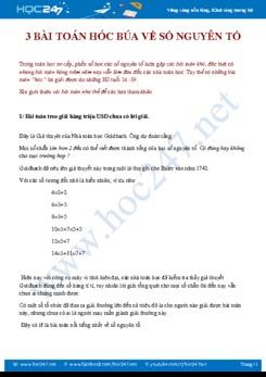 3 bài toán hóc búa về số nguyên tố Toán 9