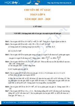 Các dạng bài tập Chuyên đề Tứ giác Toán 8 năm 2019
