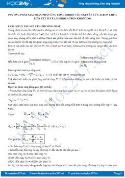Phương pháp giải toán phản ứng cộng Hidro vào nguyên tử cacbon chứa liên kết Pi của Hidrocacbon không no
