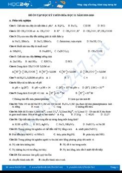 Đề ôn tập HK1 môn Hóa học 11 năm 2019-2020