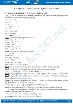 Các dạng bài tập về cacbon và hợp chất của cacbon môn Hóa học 11