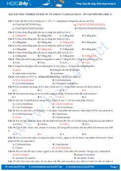 Bài tập trắc nghiệm có đáp án về Ankan và Xicloankan - Ôn tập môn Hóa học 11 năm 2020
