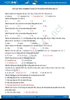 Bài tập trắc nghiệm có đáp án về Anken môn Hóa học 11 năm 2019-2020