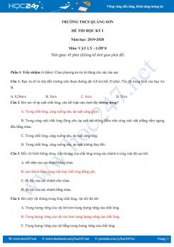 Đề thi HK1 môn Vật lý 8 năm học 2019-2020 trường THCS Quảng Sơn có đáp án