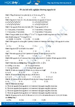 50 Câu hỏi trắc nghiệm chương Nguyên Tử môn Hóa học 10 năm 2019-2020