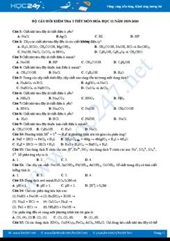 Bộ câu hỏi kiểm tra 1 tiết môn Hóa học 11 năm 2019-2020