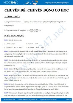 Công thức và bài tập áp dụng chủ đề Chuyển động cơ học môn Vật lý 8 năm 2020