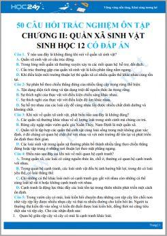 50 Câu hỏi trắc nghiệm ôn tập Chương II Quần xã sinh vật Sinh học 12 có đáp án