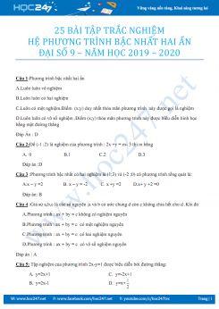 25 bài tập trắc nghiệm hệ phương trình bậc nhất hai ẩn Đại số 9 năm 2019