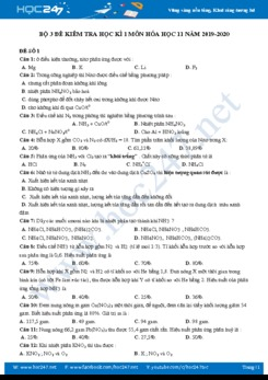 Bộ 3 đề thi HK1 môn Hóa học 11 năm 2019-2020